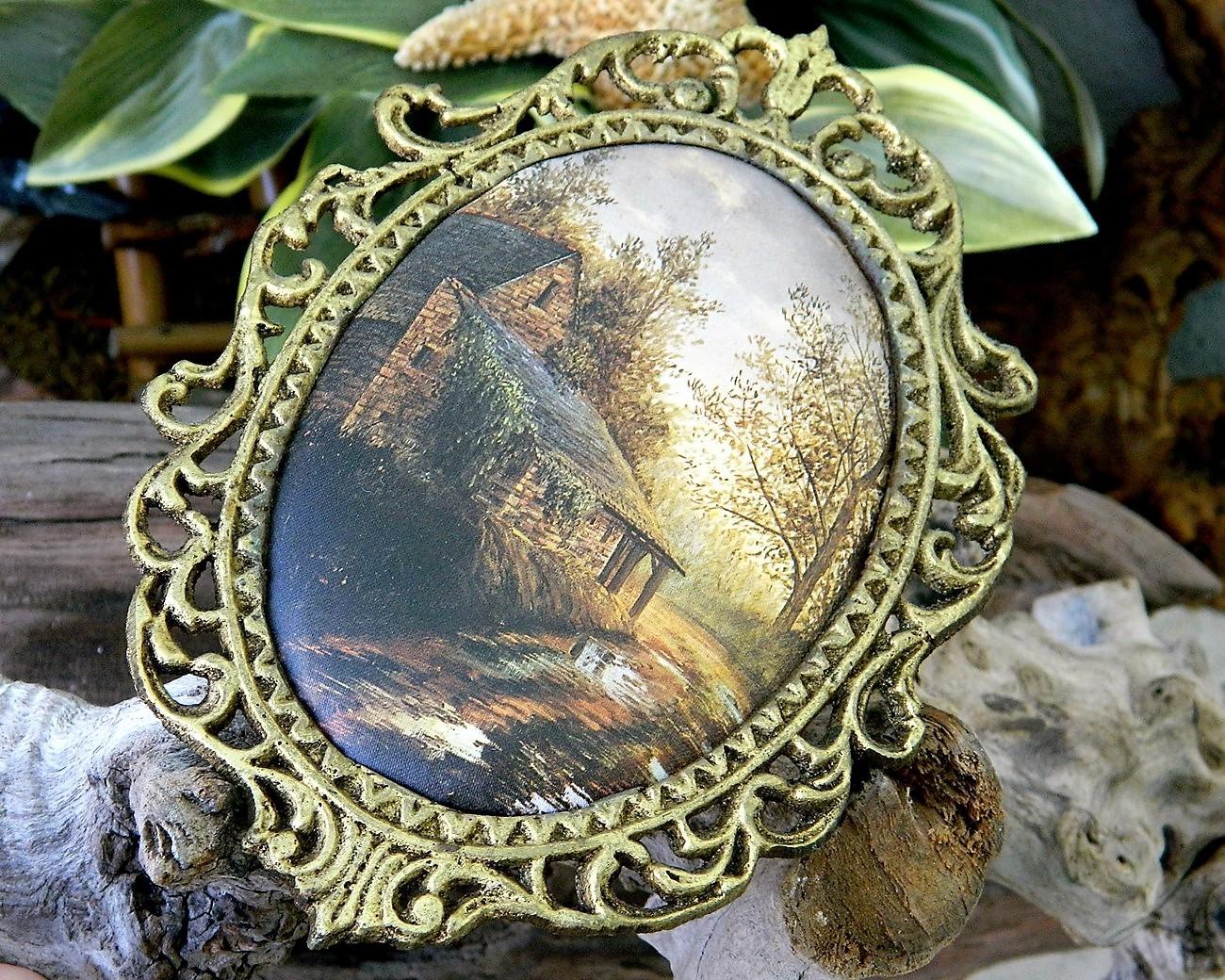 Vintage ornate oval gold frame padded silk cabin cottage landscape