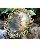 Vintage Ornate Oval Gold Frame Padded Silk Cabin Cottage Landscape  - $17.95
