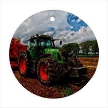 Farming Tractor Round Ornament w/ Ribbon Hanger - $7.40