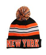 New York City Hunter Men's Striped Winter Knit Cuffed Pom Beanie Hat Gra... - $11.95
