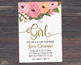 It's a Girl / Baby Shower Invitation / Watercolor Flowers Invitation - $7.99