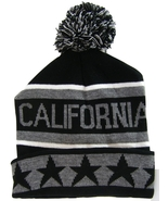 California Men's Striped Winter Knit Cuffed Pom Beanie Hat with Stars Bl... - $8.95