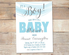 It's a Boy / Baby Shower Invitation / Blue and White Baby Shower - $7.99