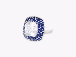 Ladies 14 K White Gold With Natural Blue Sapphires Ring - $1,850.00