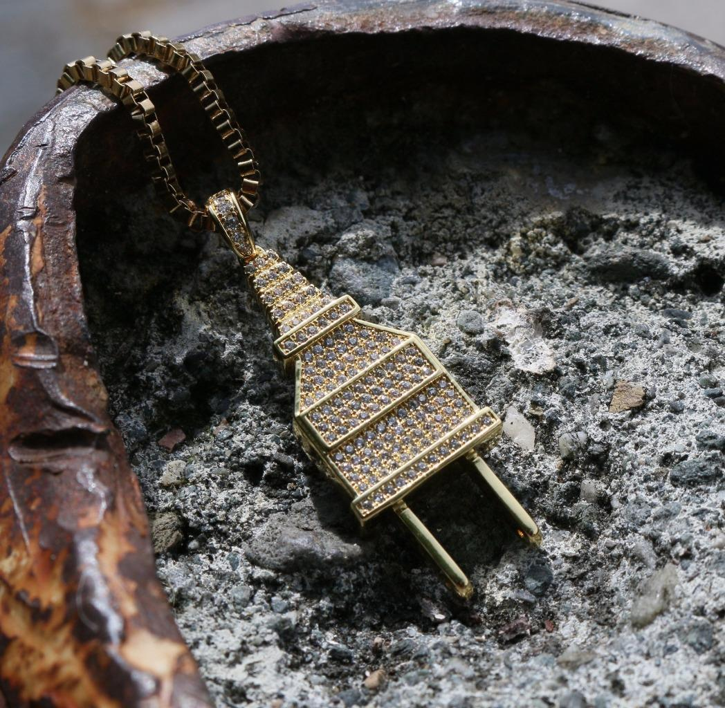 Hip Hop Plug Pendant 14k Gold Iced Out Necklace