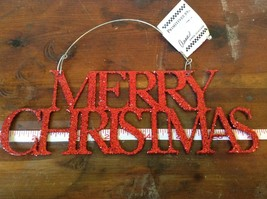 Red Merry Christmas Glitter Ornament Wire Hanger or wall decoration