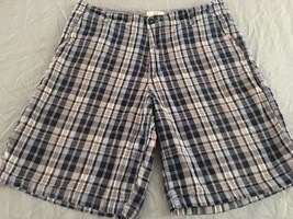 Mens* Blue & Gray Plaid* Flat Front Shorts Size 34 Free Shipping - $9.90