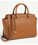 NWT Michael Michael Kors SELMA Large Leather Satchel Bag Luggage Tan AUT... - $268.00