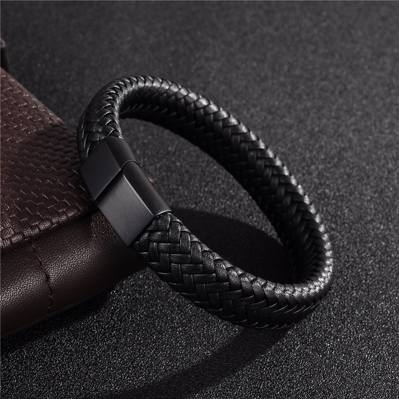 Jewelry black brown braided leather bracelet stainless steel magnetic clasp fashion bangles 18 7