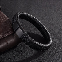 Black/ Brown Braided Leather Bracelet Stainless Steel Fashion Bangles For Men - $15.84
