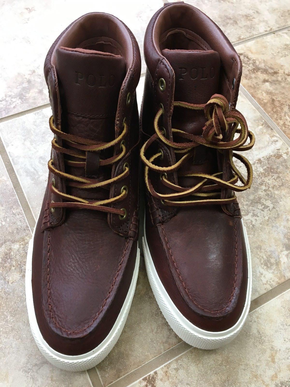 Polo Ralph Lauren Mens Tavis Leather High Top Sneakers 7 D 18309