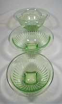 Vintage Depression Era Green Uranium Vaseline Glass Set of Three Mixing ... - $325.00