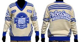 Phi Beta Sigma Long Sleeve V neck Sweater White Blue V neck Fraternity S... - $130.00