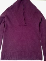 Eddie Bauer V-Neck Burgundy Sweater Cotton Blend Fold Over Collar Size XS - $14.01