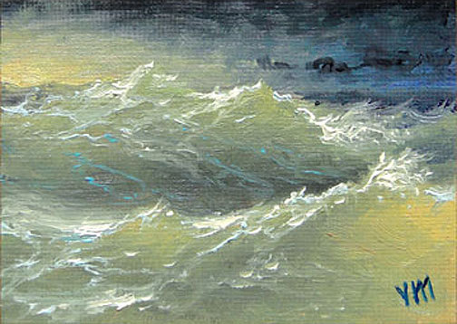 Boiling Ocean,  ACEO  original oil painting.