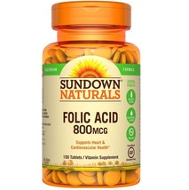 Sundown Naturals Folic Acid 800 mcg, Tablets, 100 count - $6.79