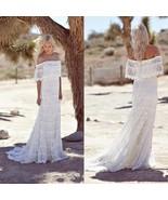 Summer Beach Wedding Dresses Sheath Bohemian Lace Appliques Bridal Gowns... - $98.38