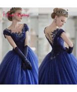 2017 Ball Gown Wedding Dresses Formal Royal Blue Tulle Bridal Gowns Custom - $130.54