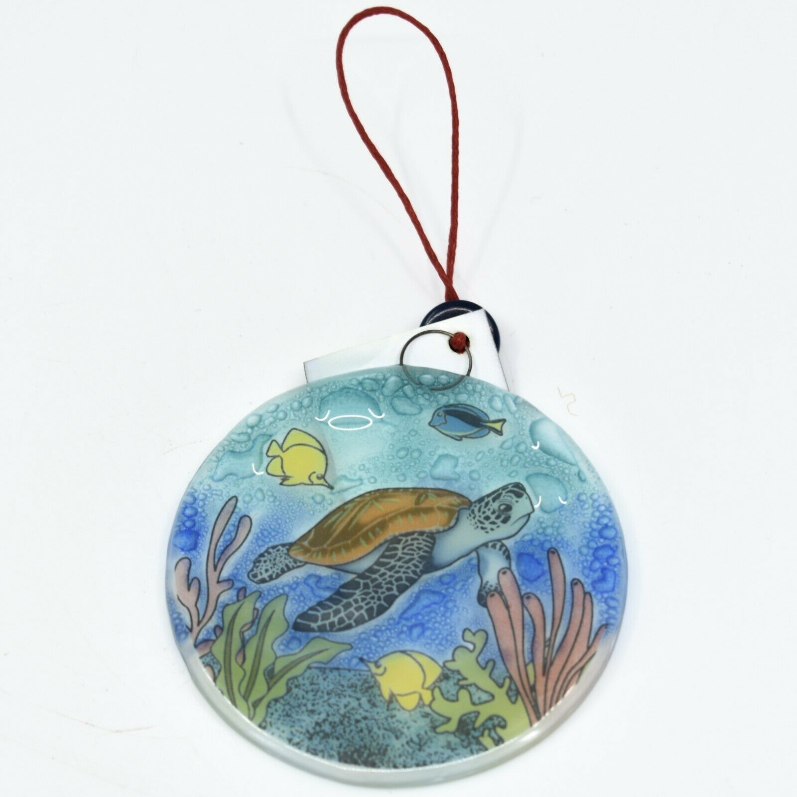 Ocean Reef Sea Turtle Fish Fused Art Glass Ornament Sun Catcher Handmade Ecuador