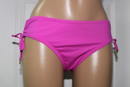 NEW Anne Cole 16MB300 Fuchsia Shirred Tie Sides Swim Hipster Bikini Bott... - $11.84