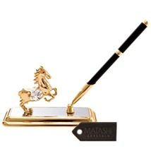24k Gold Plated Horse Pen Set Made with Genuine... - $39.59