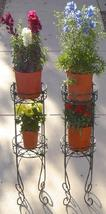 Two (2) Round 2-Tier wrought iron garden yard deck metal plant stand pla... - $45.00