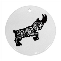 Year of the Goat Chinese Zodiac Round Ornament w/ Ribbon Hanger - $7.38