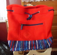 Vera Bradley Mesh backpack in Orange Cobalt Stripe - $53.00