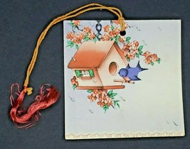 Vintage GIbson Bridge Tally Score Card Blue Bird Bird House Flowers New - $12.99