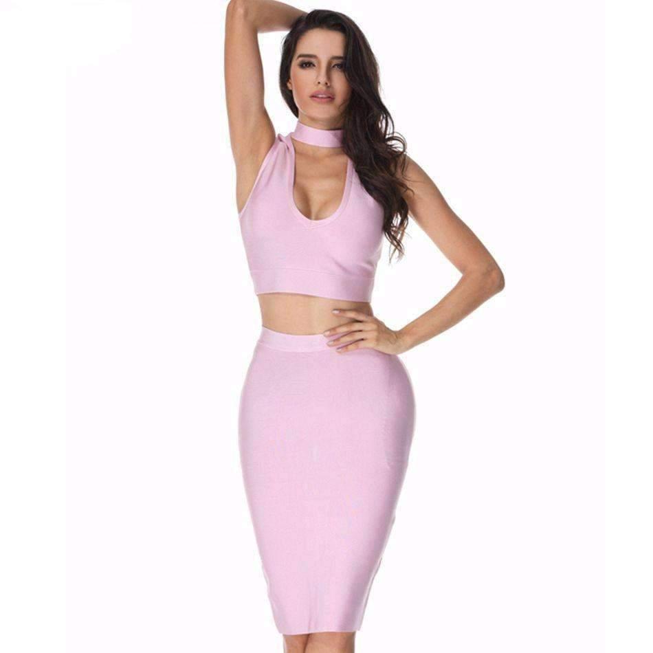 less bandage dress pink xs sexy two piece set deep v neckline women bandage dress 1410822307871