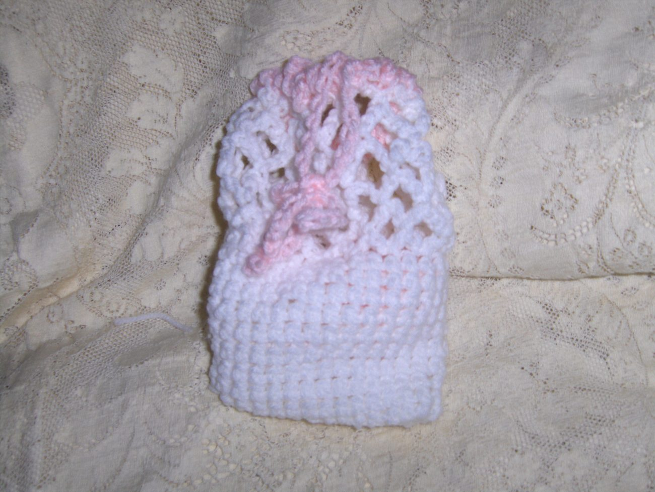 Handmade Lattice White and Pink Crocheted Childs Purse/Doll Bassinet