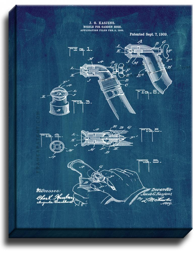 Primary image for Nozzle for Garden-hose Patent Print Midnight Blue on Canvas
