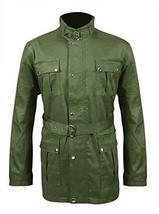 Mens Antique Biker Multi Pockets Motorcycle Wax Cotton Jacket Belted Coat image 1