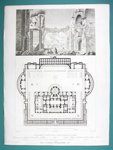 ARCHITECTURE PRINT 1850 - Italy Rome Baths of Antoninus Caracalla - $16.20