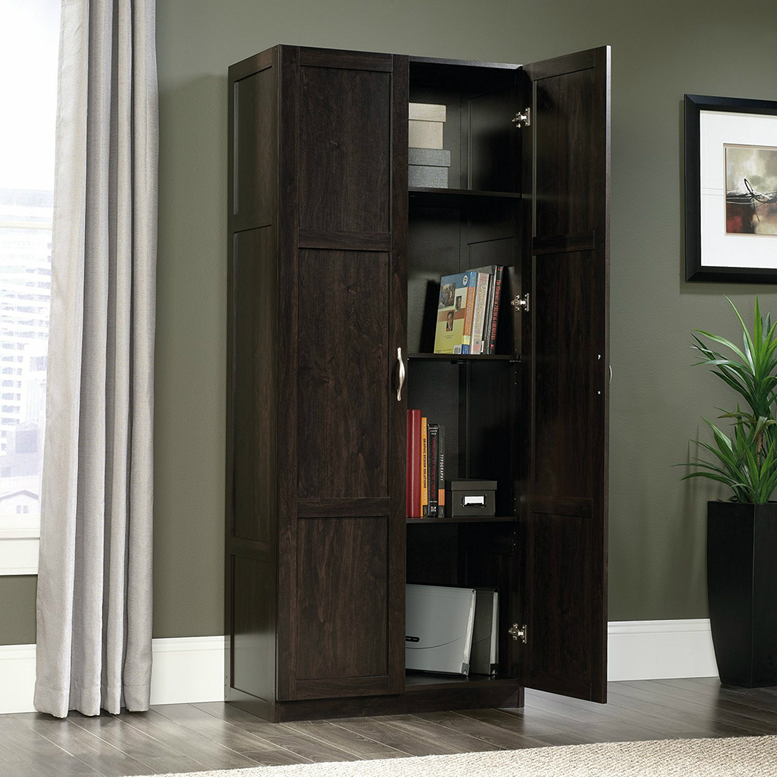 Kitchen storage pantry cabinet tall wood cupboard bathroom for Timber pantry cupboard
