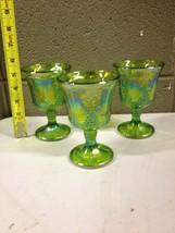 Vintage Green Carnival Glass Iridescent Goblets Chalice Harvest Grape Se... - $28.04