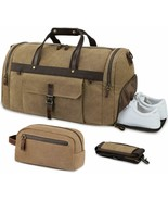 Travel Bag Vintage Canvas Mens Waterproof Compartment Shoes and neceser - $311.71