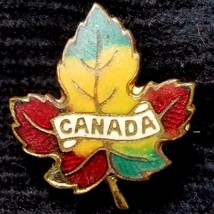 Vintage 1950 Copper Maple Leaf Pin Fall Color Enamel Canada Across Leaf ... - $24.70