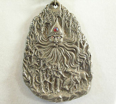Father Frost Soul of Winter Pewter Pendant Necklace Rawcliffe Artist Sig... - $29.65