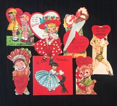 Set of 7 Vintage 50s illustrated Valentine Card Art (Set B)