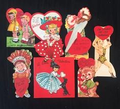 Set of 7 Vintage 50s illustrated Valentine Card Art (Set B) image 1