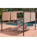 Outdoor Pergola Steel Gazebo Large Canopy Cover Kit Brown Garden Shelter... - $336.59