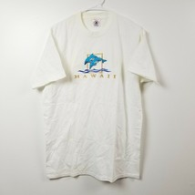 VINTAGE Hawaii Mens T Shirt Large L Dolphins Embroidered White Gold Shor... - $28.01