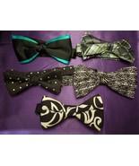 5 Bow Ties - Green Plaid, Black & Teal, Polka, Black & White Striped, & ... - $57.92