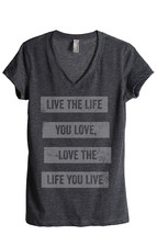 Thread Tank Life You Love Women's Relaxed V-Neck T-Shirt Tee Charcoal - $24.99+