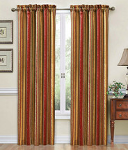 Traditions By Waverly One Rod Pocket Crimson Stripe Ensemble Curtain Panel 52x84 - $21.77