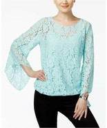 Alfani Women's Lace Bubble Blouson Top Tear Drop Angel Sleeves $69 Size ... - $13.80