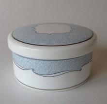 Wedgwood Round Bone China Trinket Box with Lid Blue White Venice - $19.99