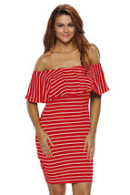 Red White Striped Off-shoulder Bodycon Dress  - $14.22