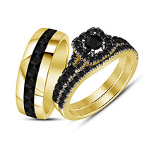 Men's Band Ring Women's Engagement Ring Yellow Gold Fn 925 Silver Trio R... - $158.86